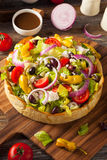 Homemade Greek Salad in a Bread Bowl Royalty Free Stock Images