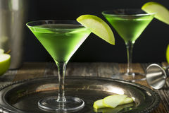 Homemade Green Alcoholic Appletini Cocktail Royalty Free Stock Photos
