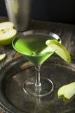 Homemade Green Alcoholic Appletini Cocktail Stock Photo
