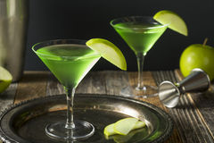 Homemade Green Alcoholic Appletini Cocktail Royalty Free Stock Images