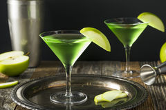 Homemade Green Alcoholic Appletini Cocktail Stock Images