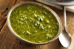 Homemade Green Chimichurri Sauce Stock Photography