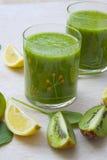 Homemade green detox smoothie Stock Photos