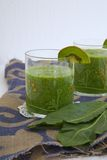 Homemade green detox smoothie Stock Photo
