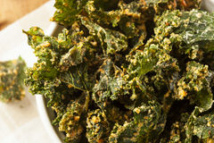 Homemade Green Kale Chips Royalty Free Stock Images