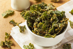 Homemade Green Kale Chips Stock Photos