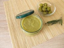 Green olive jam in jar Royalty Free Stock Photos