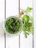 Homemade green pesto Stock Photo