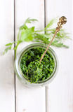 Homemade green pesto Stock Photos