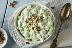 Homemade Green Pistachio Fluff Dessert. With Pecans and Marshmallows Stock Photos