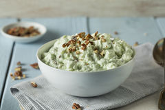 Homemade Green Pistachio Fluff Dessert. With Pecans and Marshmallows Royalty Free Stock Photography