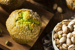 Homemade Green Pistachio Muffins Stock Photos