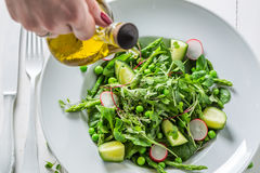 Homemade green salad with spinach, radishes and asparagus Royalty Free Stock Photo
