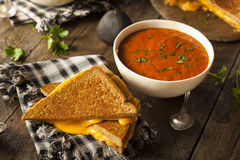 Homemade Grilled Cheese with Tomato Soup Royalty Free Stock Images