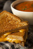 Homemade Grilled Cheese with Tomato Soup Stock Photography