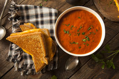 Homemade Grilled Cheese with Tomato Soup Royalty Free Stock Photo