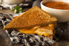 Homemade Grilled Cheese with Tomato Soup Royalty Free Stock Photos
