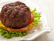 Homemade grilled hamburger on plate Stock Images