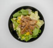 Homemade grilled pork with organic green vegetable isolated on w royalty free stock photography