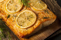 Homemade Grilled Salmon on a Cedar Plank Stock Image