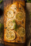 Homemade Grilled Salmon on a Cedar Plank Royalty Free Stock Photo