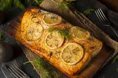 Homemade Grilled Salmon on a Cedar Plank. With Dill stock photography