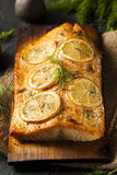Homemade Grilled Salmon on a Cedar Plank Royalty Free Stock Photos