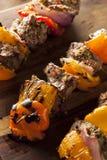 Homemade Grilled Steak and Veggie Shish Kebabs Stock Image