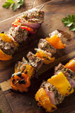 Homemade Grilled Steak and Veggie Shish Kebabs Stock Photo