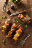 Homemade Grilled Steak and Veggie Shish Kebabs Royalty Free Stock Images