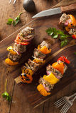 Homemade Grilled Steak and Veggie Shish Kebabs Stock Images