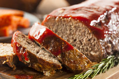 Homemade Ground Beef Meatloaf. With Ketchup and Spices royalty free stock image