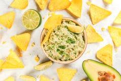 Homemade guacamole in bowl Stock Photo