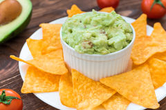 Homemade guacamole with crunchy nachos Royalty Free Stock Image