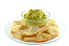 Homemade Guacamole With Fresh Made Crostini's Stock Photos