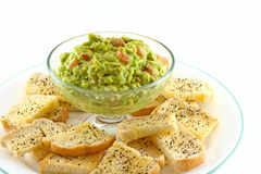 Homemade Guacamole With Fresh Made Crostini's Stock Images