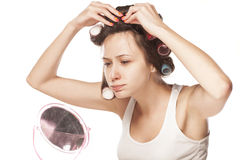 Homemade hair style Stock Images