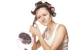 Homemade hair style Royalty Free Stock Image