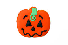 Homemade Halloween Pumpkin Sugar Cookie. Isolated on white background Royalty Free Stock Image