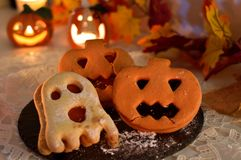 Homemade Halloween pumpkins and ghosts royalty free stock images