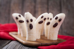 Homemade halloween scary banana ghosts monsters Royalty Free Stock Photo