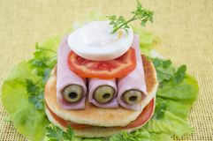 Homemade ham sandwich Stock Photo