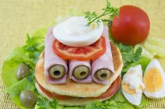 Homemade ham sandwich Stock Photography