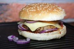 Homemade hamburger. Hamburger with beef, cheese, onion, tomato and sauce. Homemade burger Royalty Free Stock Photos