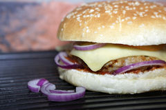Homemade hamburger. Hamburger with beef, cheese, onion, tomato and sauce. Homemade burger Royalty Free Stock Image