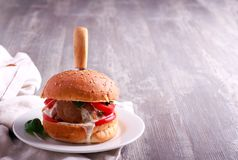 Homemade hamburger with beef and vegetables Royalty Free Stock Photography