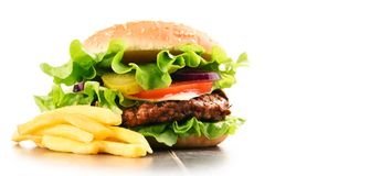 Homemade hamburger with cheese and fresh vegetables Royalty Free Stock Photography