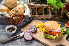 Homemade hamburger with chicken and onion stock photos