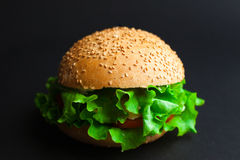 Homemade hamburger with fresh green lettuce, tomato and red onio Stock Photo
