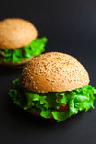 Homemade hamburger with fresh green lettuce, tomato and red onio Royalty Free Stock Photography